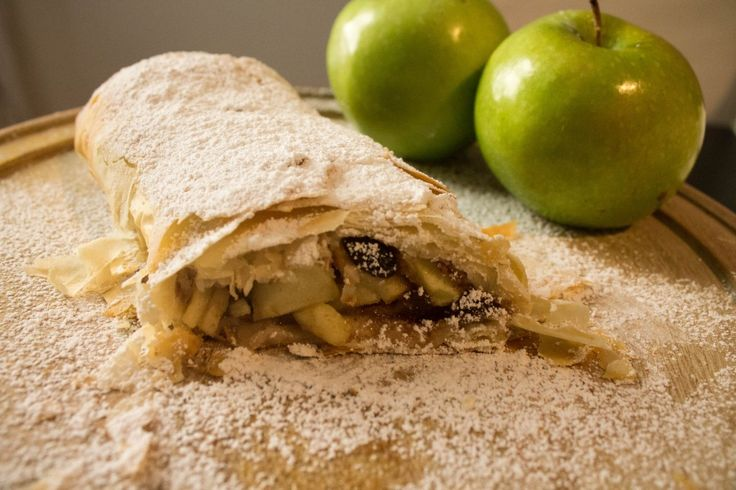 Easy apple strudel recipe, made with phyllo dough. You can have fancy dessert in less than an hour!