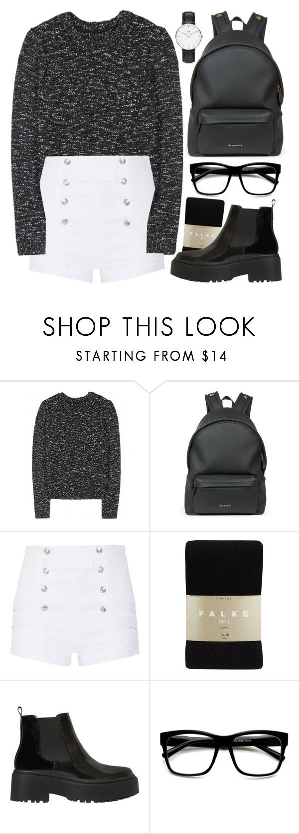 """Black shorts, black boots, black tights"" by alexandra-provenzano ❤ liked on Polyvore featuring Alice + Olivia, Givenchy, Pierre Balmain, Falke, Jeffrey Campbell, ZeroUV and Daniel Wellington"