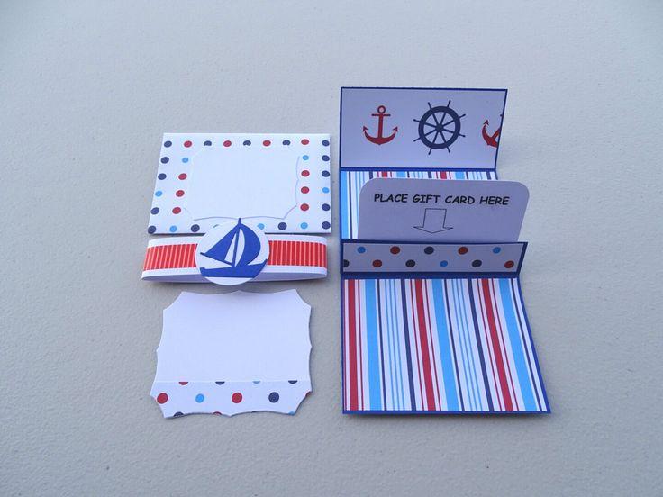 Gift card holder for him - Gift card pocket nautical themed - Gift card envelope for men - Boys money envelope - Money envelope for him by prettypapernz on Etsy