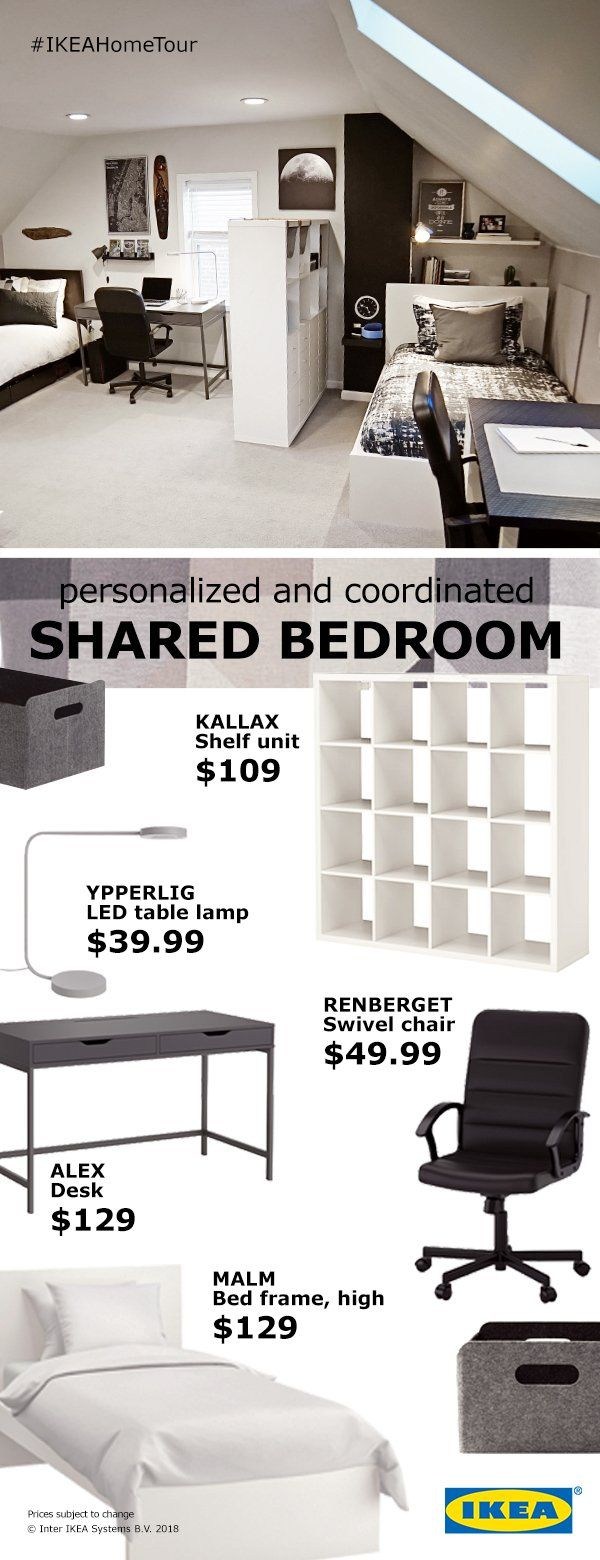 Don't let a shared room keep you from having your own space. The IKEA Home Tour Squad shows how these affordable solutions can transform a shared bedroom into separate work and sleep spaces each roommate can enjoy.