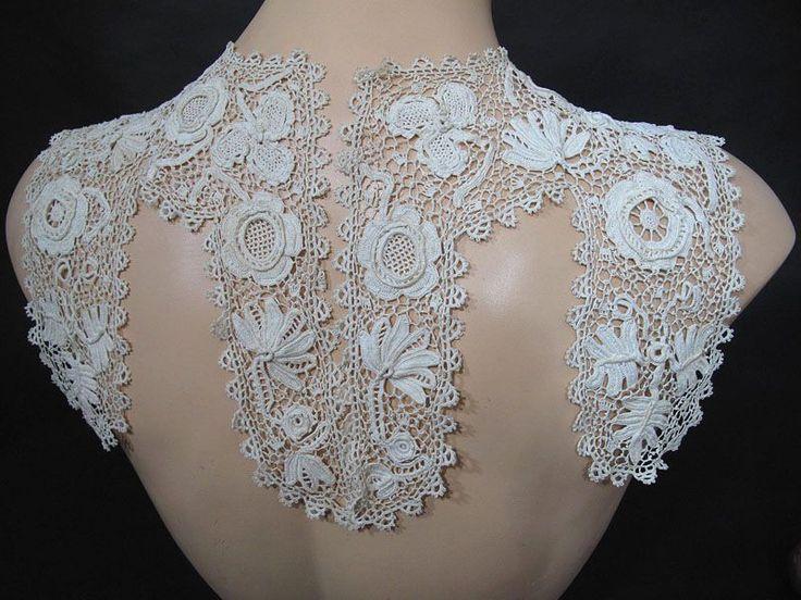 Expansive Antique Irish Crochet Lace Collar Crochet Lace