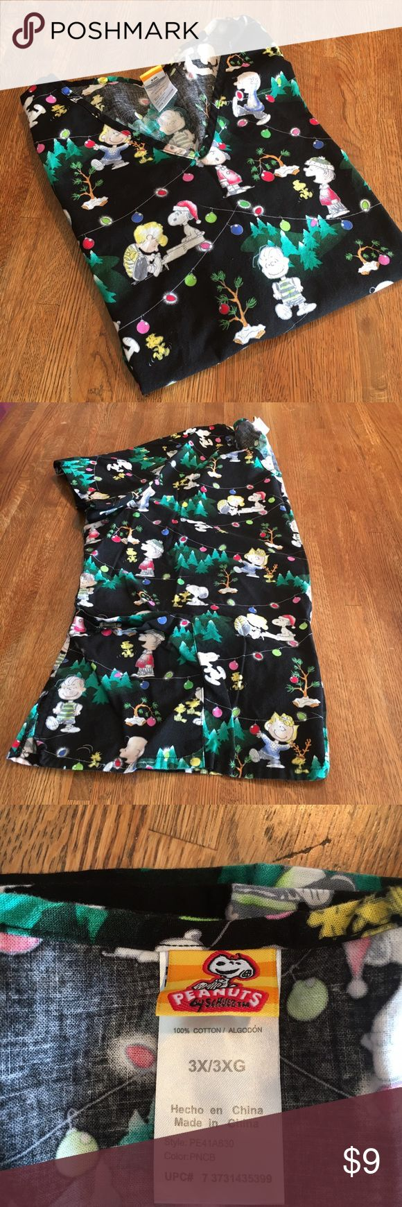 "Medical Scrub Top, size 3X Medical scrub top, size 3X. Peanuts brand with a Christmas theme. Bust laid flat is d flat is 26.5"" and shoulder to hem is 28.5"". Peanuts Tops Tunics"