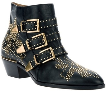 Chloe Studded Buckled Ankle Boot - Lyst.com