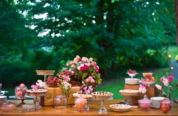 catering, dessert, floral, centerpieces, buffet, pie, beige, dessert tables, hot pink, light pink, vintage , Summer, diy, cake, decor, flowers, food, table, treats, High Falls , New York