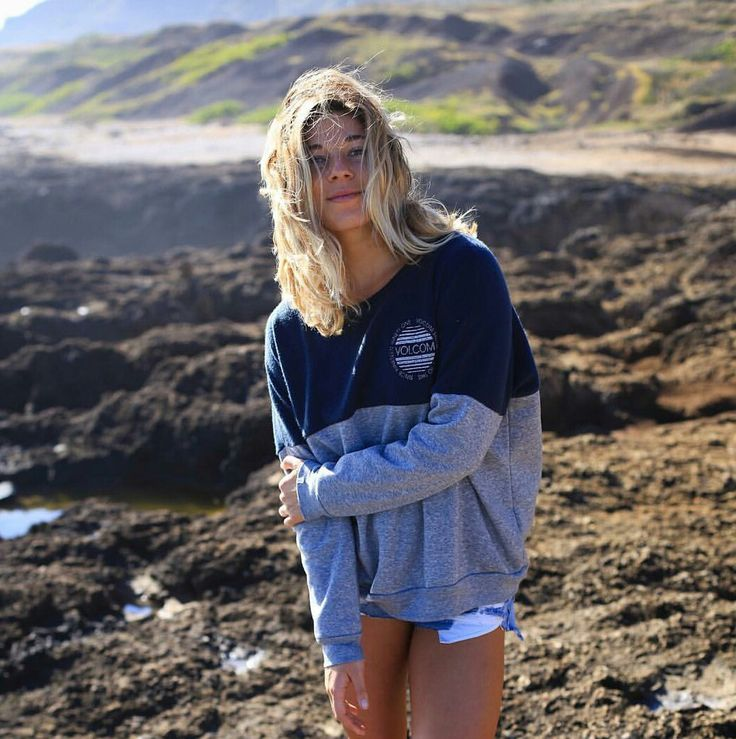 Volcom sweater and denim shorts, Coco Ho summer