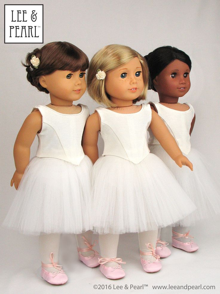 "Swans, snowflakes and sylphs... our American Girl dolls are ready to perform wearing just-like-the-real-thing Romantic tutus made of layers of tulle attached to a hidden basque and panty, and fitted bodices with pointed fronts and demure scooped necklines edged with piping. Find Pattern 1072: Corps de Ballet for 18"" Dolls — and the combined BALLET PERFORMANCE BUNDLE with the Classical tutu as well — in our Etsy store at https://www.etsy.com/shop/leeandpearl"