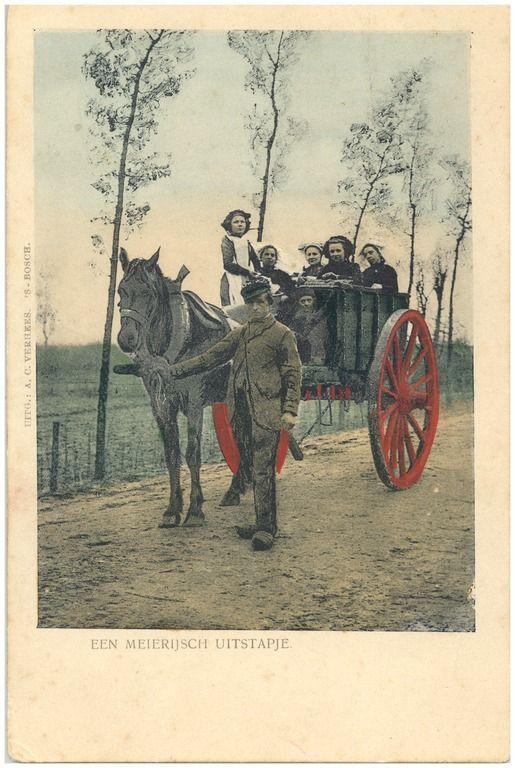 Het vervoeren van een boerenfamilie met paard en hoogkar Auteur: Verhees, A.C. - 1895 #NoordBrabant