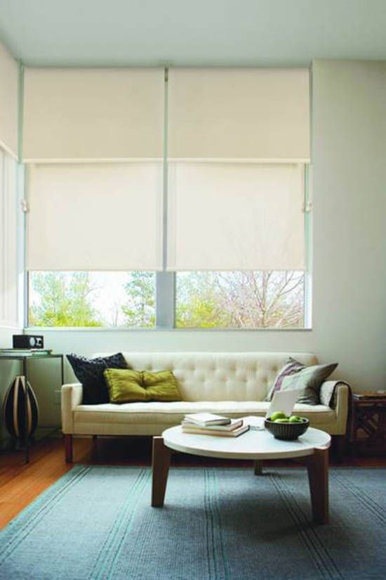 / roller blinds / double / linked / flexible light control /