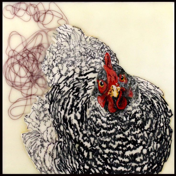 'Theme' of projected, abstract mechanically invented ILLUSIONS: 'Art'. 'Poule'. 'Pebbles' - 'Encaustic' 'Painting' 2009 'Chicken' 'series' - 'Mariam' Pollet