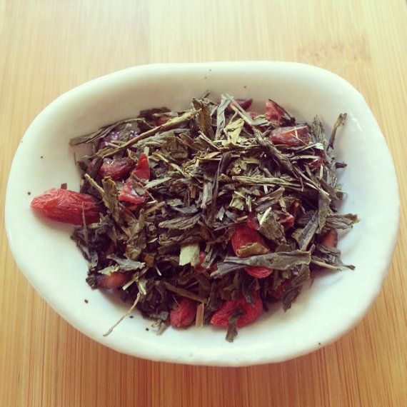 Superfruit Green Tea --- The aroma of fresh pomegranate rises from the steeped cup, and the tea itself is smooth, sweet and silky. This tea is wonderful when made hot, and incredible when made iced.