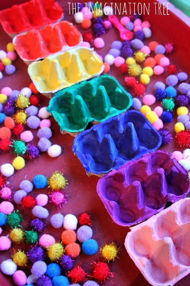 Egg carton color sorting trays and other great ideas - 20 Activities for Toddlers, Via: The Imagination Tree. Love these! Even just looking at the pics is fun :)