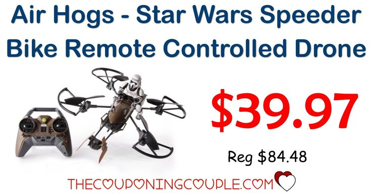ARRIVES BY CHRISTMAS! Get the Air Hogs Star Wars Speeder Bike Remote Control Drone for only $39.97 (reg $84.48!) Get free 2 day shipping or pick up at your local store! I know some kids that would love this!  Click the link below to get all of the details ► http://www.thecouponingcouple.com/air-hogs-star-wars-speeder-bike-remote-control-drone/ #Coupons #Couponing #CouponCommunity  Visit us at http://www.thecouponingcouple.com for more great posts!