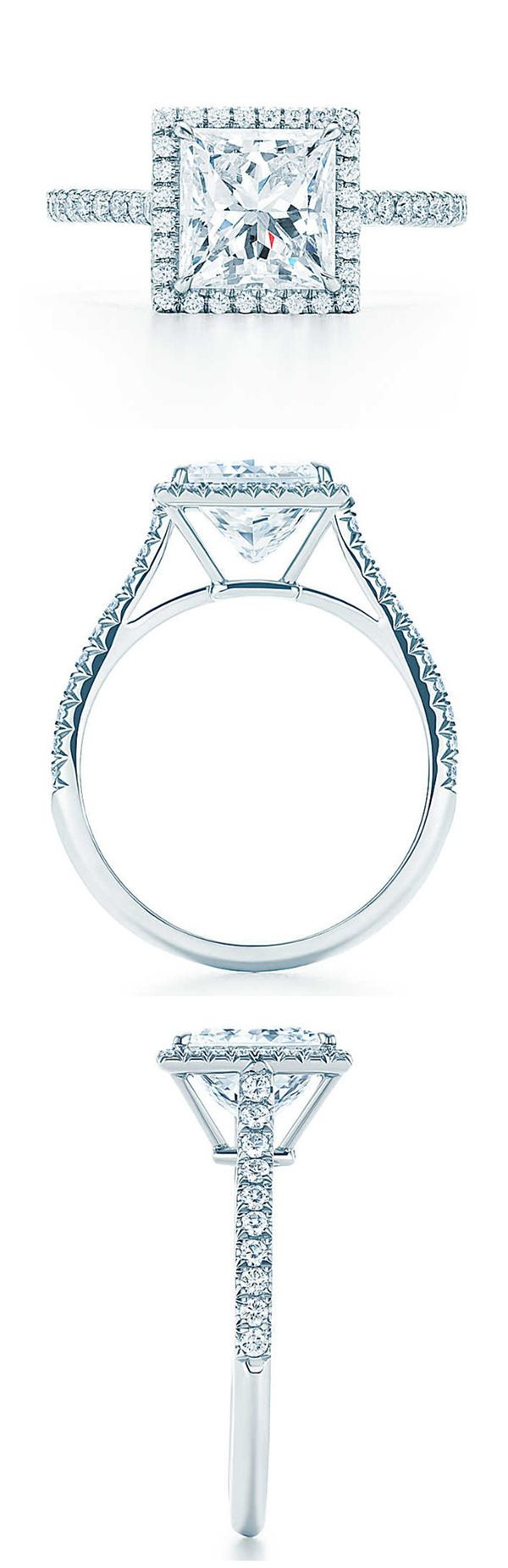 Tiffany princess cut halo wedding engagement rings
