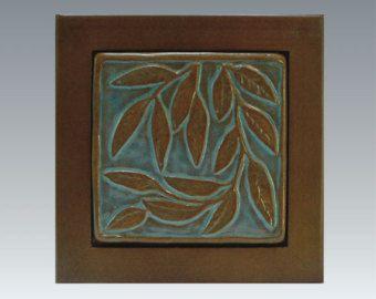 Tile Trivet, Willow leaf pattern/wood framed  turquoise & terra-cotta