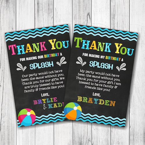Pool Party Birthday Thank You Card – Boy Pool Party Thank You Card – Girl Pool Party Birthday Thank You Card – Double Sided – Digital –