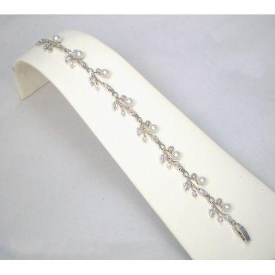 Emma Wedding Bracelet: CZ & Freshwater Pearl Vine   www.glamadonnashop.com.au