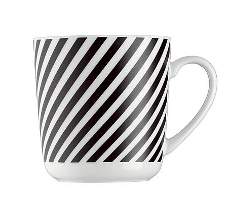 Muki Stripes Black Arzbergin malli FORM 1382. Posliinia. Mustavalkoinen