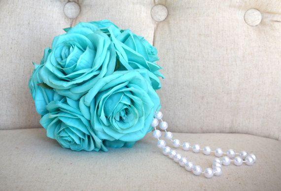 TURCHESE fiore ragazza Bouquet con Pearl Handle. di KimeeKouture
