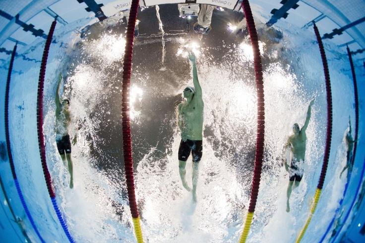 De Amerikaanse zwemmer Michael Phelps tijdens de 200 meter wisselslag op de Olympische Spelen.