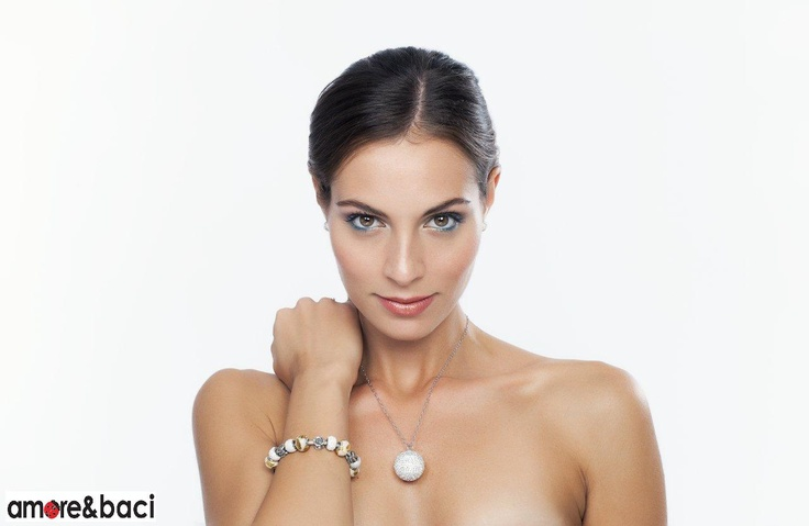 Amore & Baci 2013 campaign - GOLD and WHITE beads - necklace, bracelet, earrings