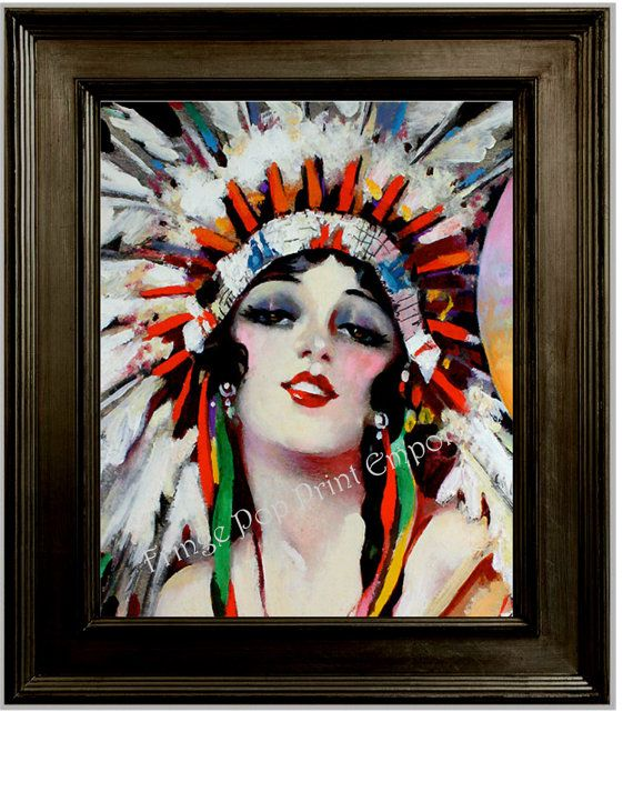 Art Deco Flapper Art Print 8 x 10 - Roaring 20s - Jazz Age - Native American Headdress - Indian on Etsy, $10.00