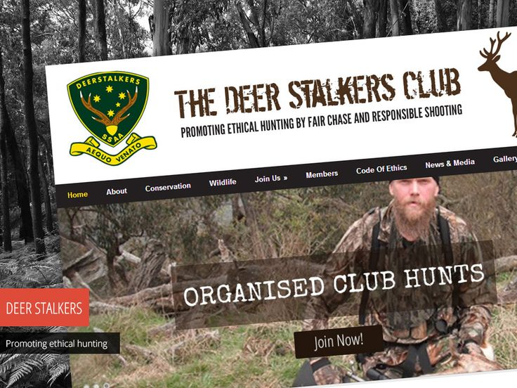 """The Deer Stalker Club's motto is """"Promoting ethical hunting by fair chase and responsible shooting"""". Check out their new website - http://www.studio72.com.au/portfolio-item/deer-stalkers-club/"""