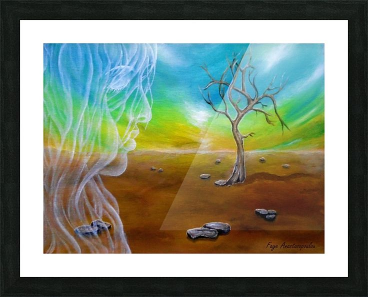 Framed Print, Painting, fantasy,scene,landscape,tree,sky,angel,fairy,spirit,face,girl,woman,feminine,female,long,hair,figure,psychedelic,picturesque,whimsical,vibrant,vivid,colorful,blue,brown,impressive,cool,beautiful,powerful,atmospheric,celestial,mystical,dreamy,dreamlike,contemporary,imagination,surreal,figurative,modern,fine,oil,wall,art,images,home,office,decor,artwork,modern,items,ideas,for sale,pictorem
