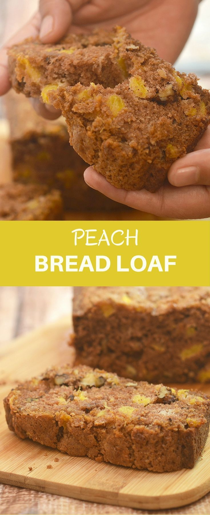 Peach Bread Loaf deliciously studded with fresh peach bits and bursting with warm cinnamon flavor. Super soft and moist, it's amazing for breakfast or anytime snack.