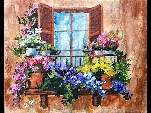 Flowers in the Window on a Balcony Beginner Acrylic Painting Tutorial by Ginger Cook - YouTube