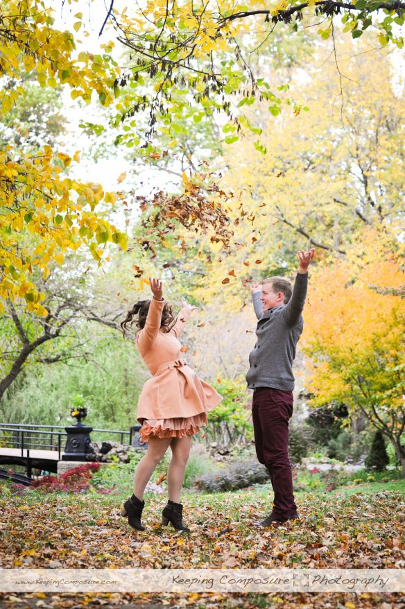 Fun engagement photo idea for the Fall! Have the couple be silly, throw leaves, anything!