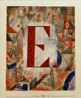 "Klee, Paul. 1879–1940.  ""E"", 1918, 199.  Watercolour and pencil on chalk foundation on paper and cardboard, 22 × 18cm. Private collection, Switzerland."