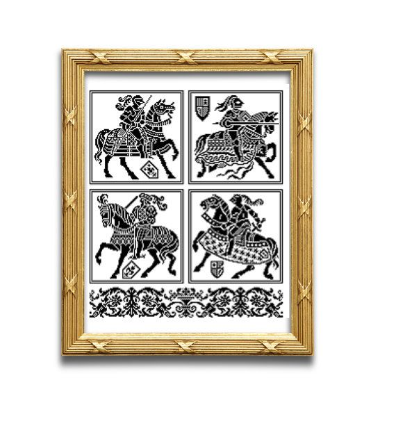 Les chevaliers . Pattern for filet crochet, cross stitch. Instant download