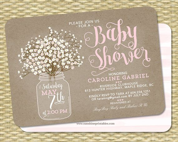 Baby Shower Invitation Baby Girl Rustic By SunshinePrintables