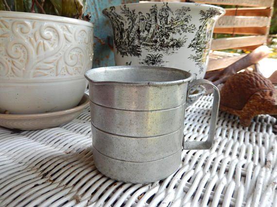 Vintage Aluminum Measuring Cup Rustic Farmhouse Decor