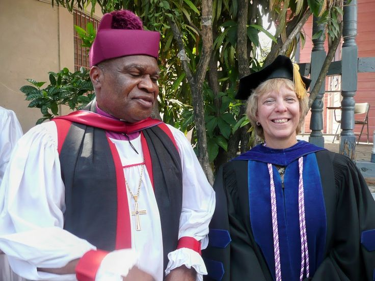 Bishop Jean Zache Duracin of the Episcopal Diocese of Haiti and Donna Martsolf at the 2011 graduation of the Faculte des Sciences Infirmieres de l'Universite Episcopale (The Episcopal University's School of Nursing) in Leogane
