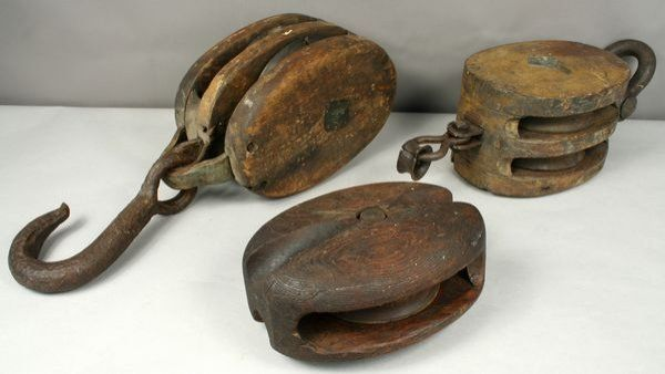 Block and Tackle on a ship | 3141: Early 20th C. Three Ships Block and Tackle : Lot 3141