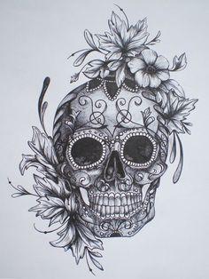 Resultado de imagem para mexican skull tattoo