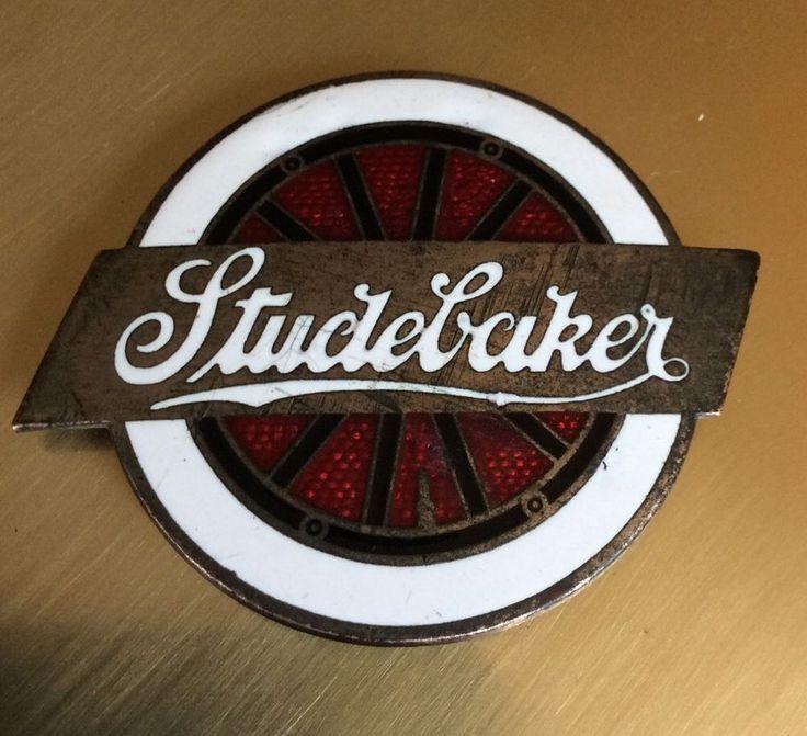 Vintage Antique Studebaker Enamel Radiator Grill Badge Emblem Ornament Cloisonné