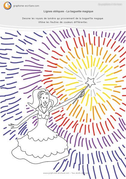 PDF fiche Graphisme MS Lignes obliques – Créer un effet de coup de baguette magique en dessinant un rayonnement multicolor avec les traits obliques.