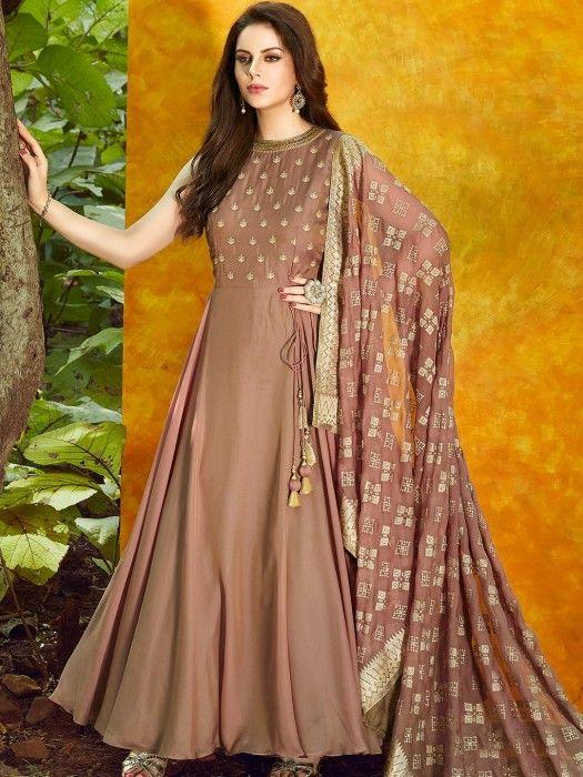 c1325988e Light brown color satin silk anarkali suit - G3-WSS00505