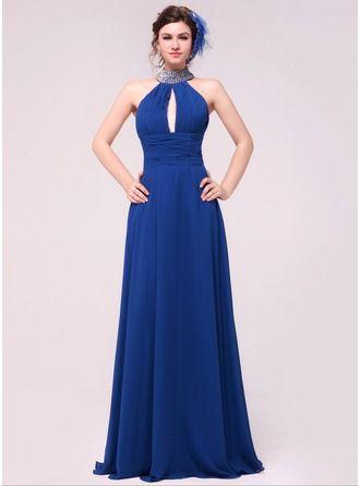 A-Line/Princess Halter Floor-Length Ruffle Beading Zipper Up Regular Straps Sleeveless No Royal Blue Winter Spring Summer Fall General Plus Chiffon Evening Dress