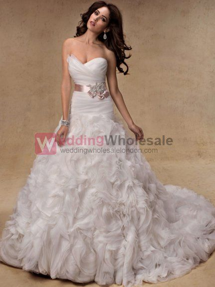 Wholesale Wedding Dresses | Wholesale Amazing Sweetheart Bridal Gown Ball Gown Chapel Train Sleeveless Organza Wedding Dresses Wholesale London | Wholesale Wedding Dresses | London