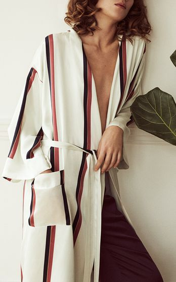 The designers: British duo Poppy Sexton-Wainwright and Lauren Skerritt head up one of our favorite pajama-inspired labels.    This season it's about: Elements of classic menswear add character to day-or-night silk separates in sophisticated prints and hues.