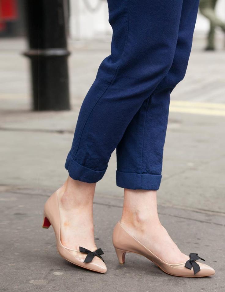 Christian Louboutin nude small heel courts | ELLE\u0026#39;s Shoes \u0026amp; Bags ...