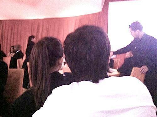 Elton John Oscars Party 2013.   Nina wearing Ian's Jacket! <3  Absolutely adorable!