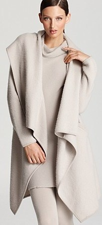 Donna Karan New York Coat - Hooded Drape Front Cozy