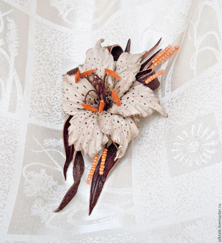 Купить Цветы из кожи Лилия Винтажный стиль Украшение из кожи - брошь из кожи, кожа натуральная