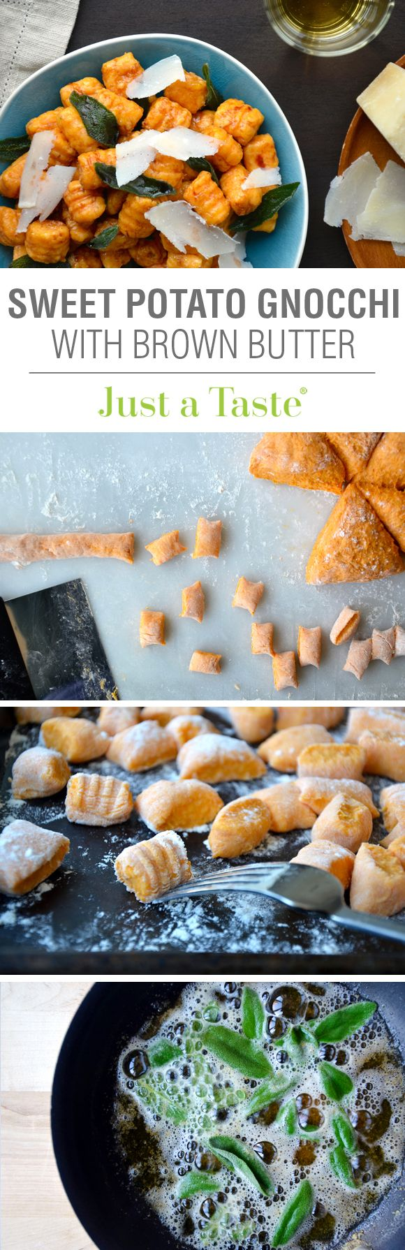 Sweet Potato Gnocchi with Balsamic Brown Butter #recipe via justataste.com