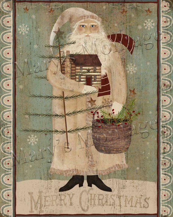 Folk Art Primitive Olde St Nick On 8x10 Canvas Board