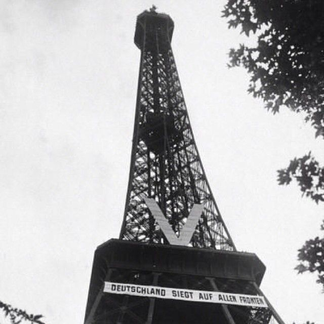 "Going to be posting a string of photos taken in Nazi Occupied Paris. Here is the Eiffel Tower bearing a ""V"" for Viktoria or Victory and a banner that reads ""DUETCHLAND SIEGT AUF ALLEN FRONTEN"" translated as ""GERMANY WINS ON ALL FRONTS"". Cocky little bastards, weren't they? • #eiffeltower #paris #nazioccupiedparis #nazi #france #frankreich #deutschlandsiegtanallenfronten #viktoria #ww2 #wwii #worldwarii #worldwar2 #worldwartwo"
